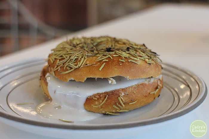 Bagel with vegan cream cheese at Farine + Four.