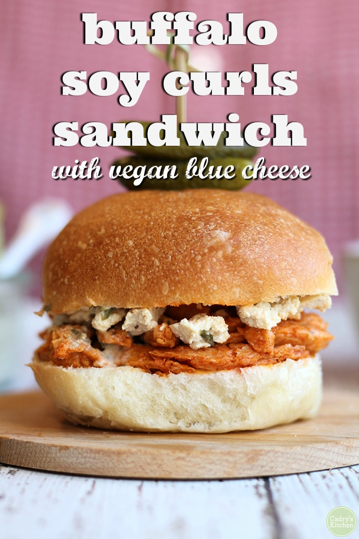 This hearty and flavor-packed buffalo Soy Curls sandwich is made in the air fryer in minutes. Drizzle it with vegan blue cheese dressing, and serve with salad or fries. #airfryer #sandwich #recipe #buffalo #vegan #vegetarian #soycurls