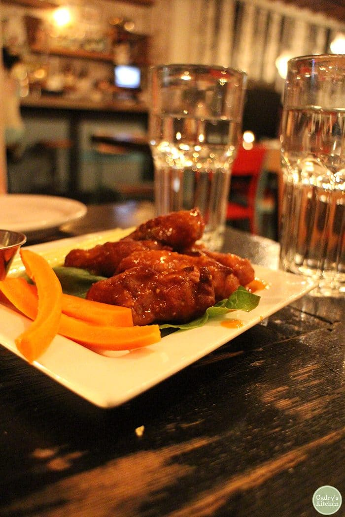 Vegan buffalo wings at MeeT on Main in Vancouver.