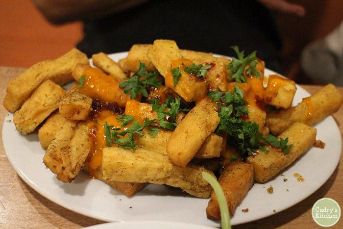 Chickpea fries with mango and sweet chili sauce.