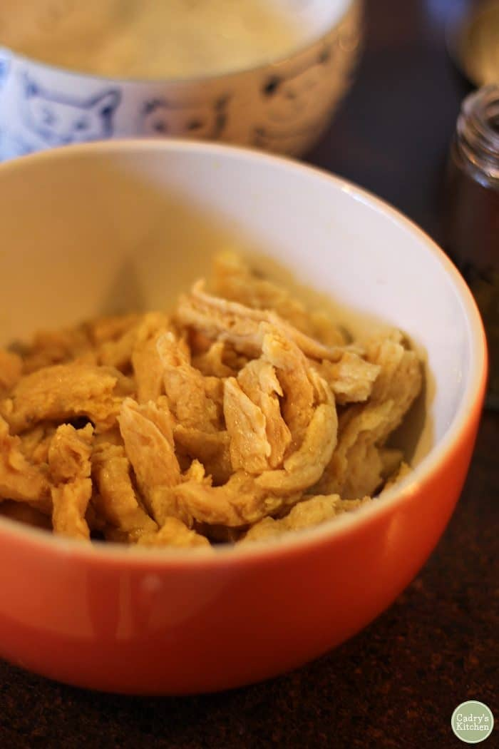 Hydrated Soy Curls in bowl.