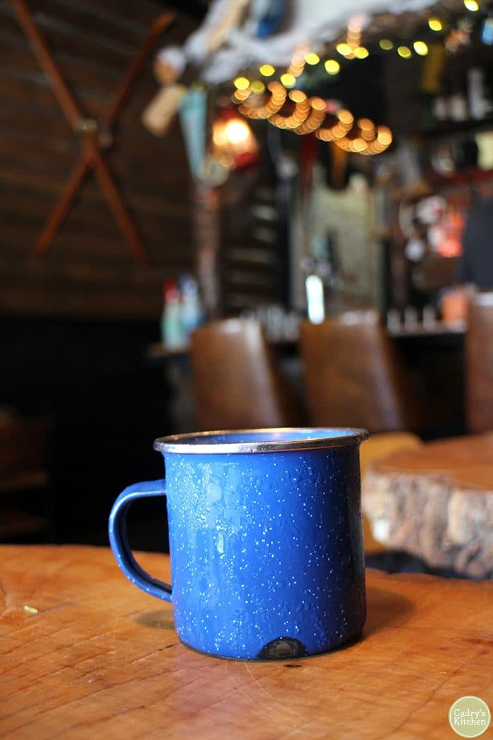 Blue aluminum mug at the Black Lodge in Vancouver.