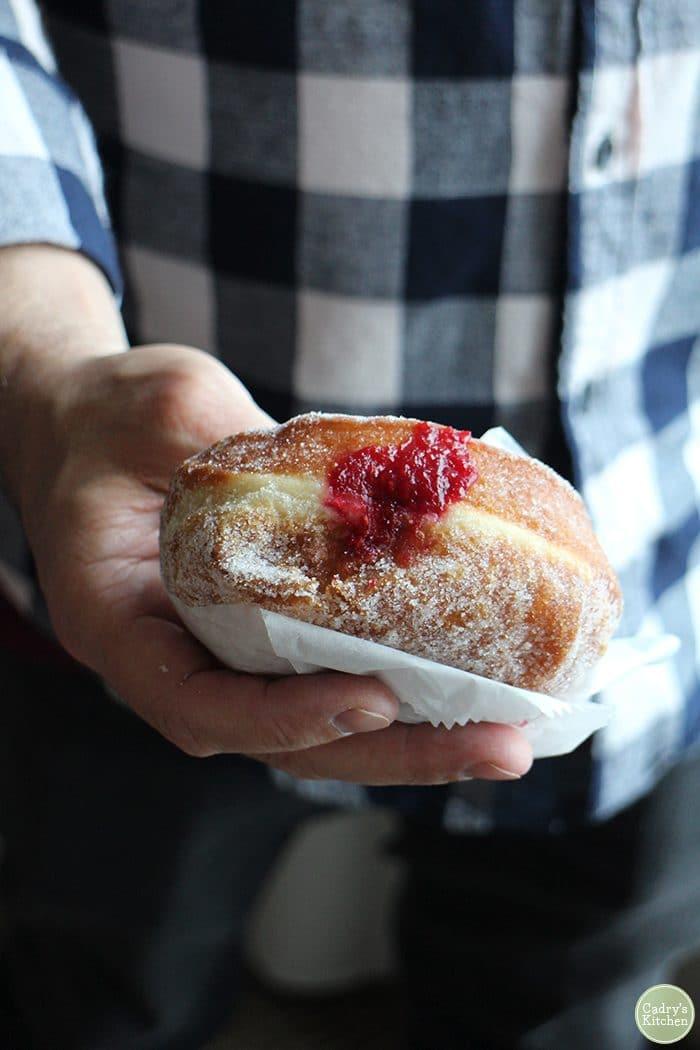 Hand holding vegan raspberry jam donut. Vegan donuts Omaha.