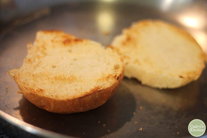 Toasted buns in dry skillet.