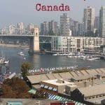 Text: Vegan travel guide to Vancouver, Canada. Granville Island Public Market and False Creek.