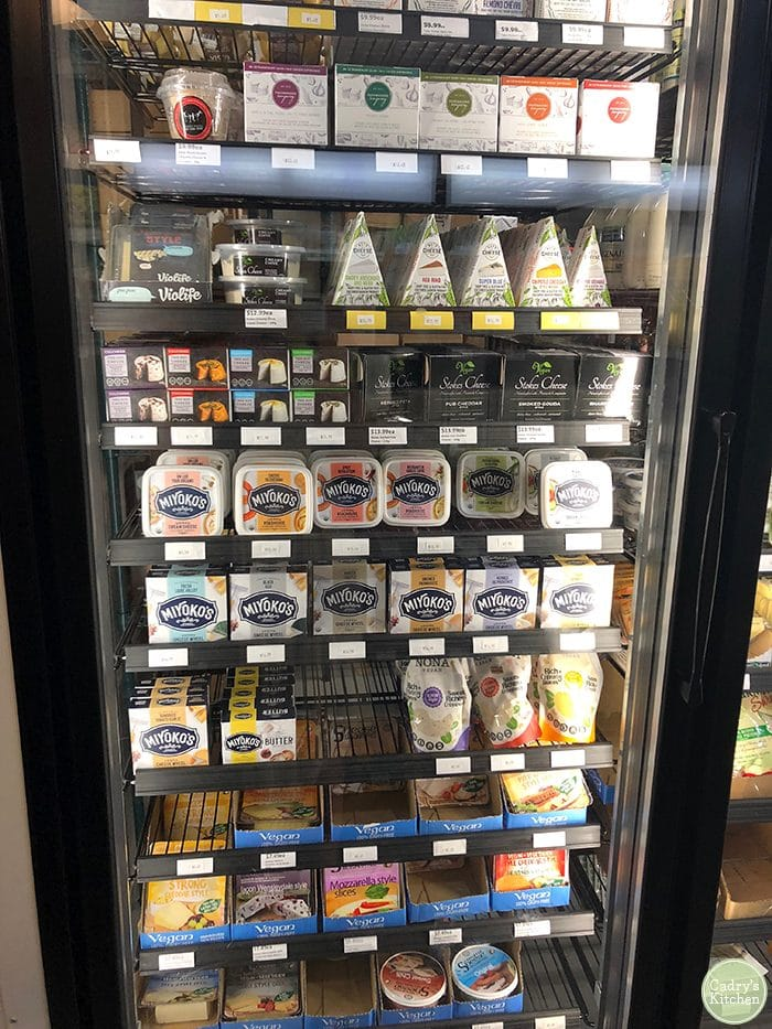 Non-dairy cheese refrigerator at Vegan Supply in Vancouver.