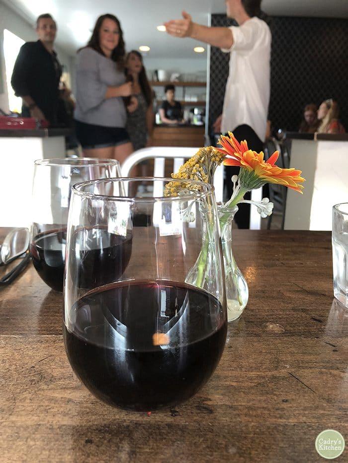 Wine glasses at Modern Love Omaha.