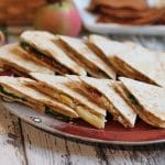 Veggie quesadilla with apples & caramelized onions