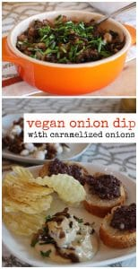 Vegan onion dip with caramelized onions text. Dip and potato chips on plate, onion dip in casserole dish.