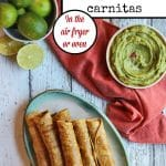 "Overhead vegan taquitos with jackfruit. Guacamole and limes. Plus text, ""vegan taquitos with jackfruit carnitas. In the air fryer or oven."""