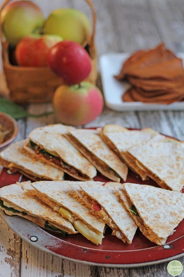 Vegan quesadilla with smoked cheese, apple, and caramelized onions.