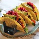 Sweet Potato & Black Bean Tacos with Cranberry-Orange Salsa