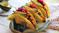 Sweet potato black bean tacos with avocado and cranberry salsa in taco holders.