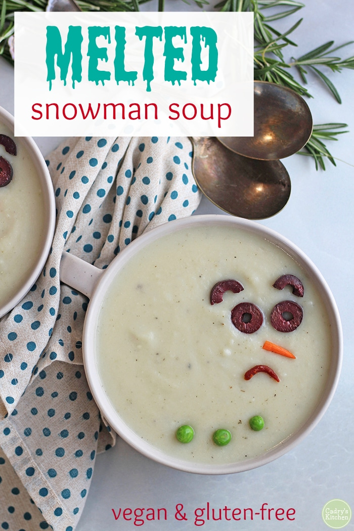 Melted snowman soup is made with potatoes, onions, garlic, and warming spices. Get the whole family involved to decorate their snowmen – with a carrot for a nose, black olive eyes, and sun-dried tomato mouths. Dinner just got a whole lot more fun. Vegan & gluten-free. #vegan #vegetarian #glutenfree #soup #kidfriendly #potato #winter #christmas #holidays