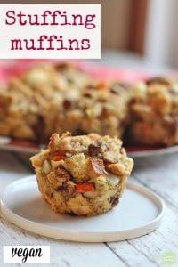 Text: Stuffing muffins. Vegan. Stuffing muffin on small plate.
