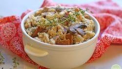 Vegan risotto with mushrooms and seitan sausage.