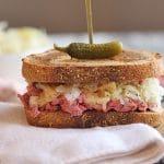 Vegan reuben jackfruit sandwich with Thousand Island