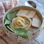Udon noodle soup with miso tahini broth (Vegan)