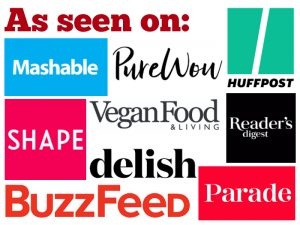 Logos for sites where Cadry Nelson of Cadry's Kitchen has been featured - including Parade, Shape, Buzzfeed, and Mashable.