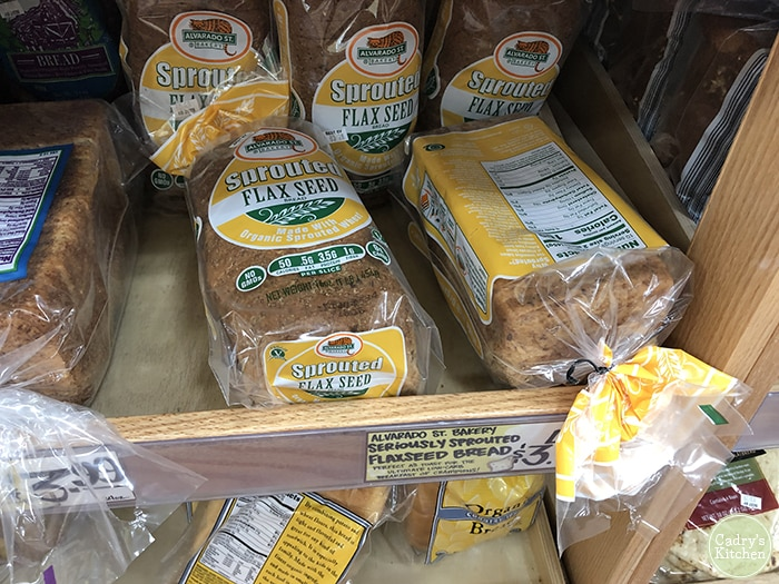 Sprouted flax seed bread from Alvarado Street Bakery at Trader Joe's.