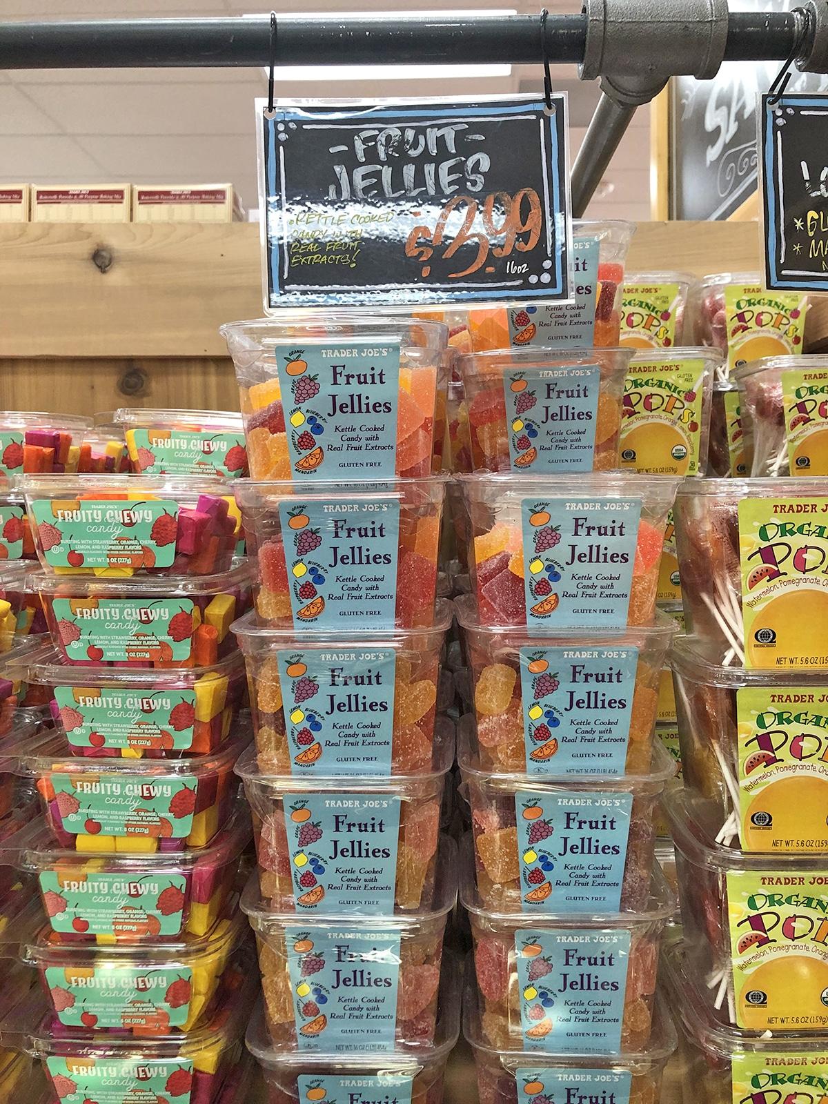 Stack of fruit jellies at Trader Joe's.