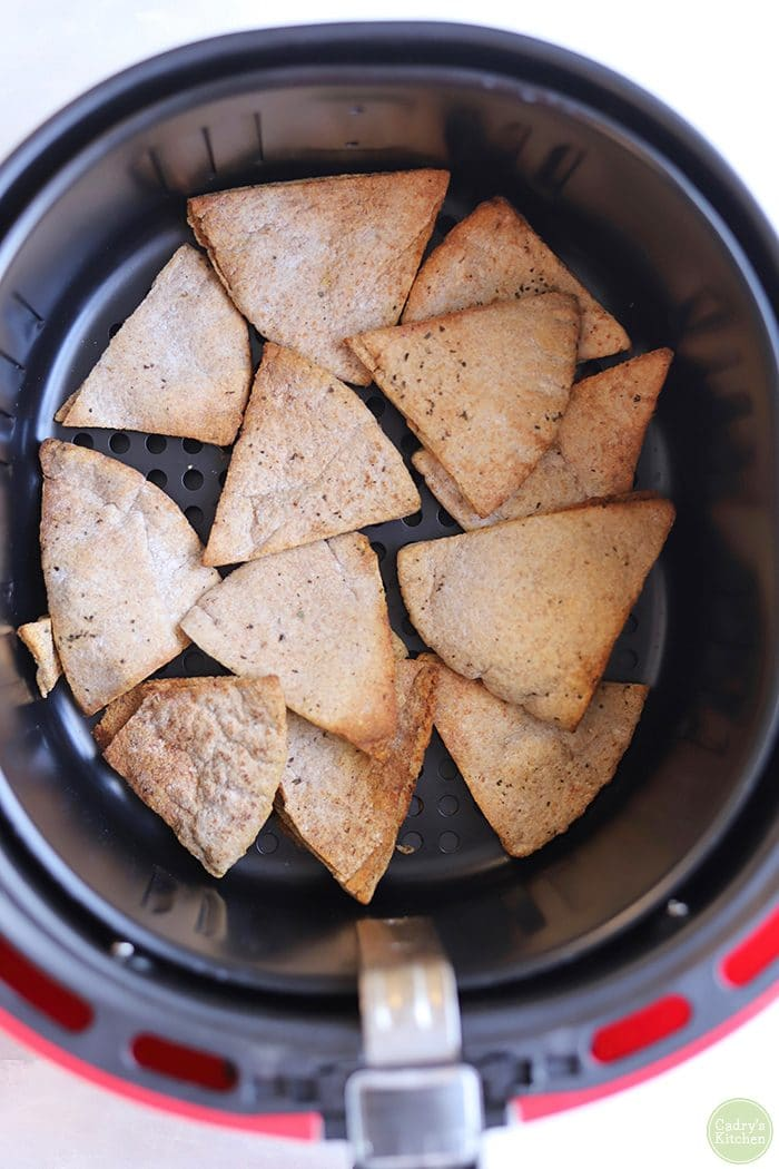 Overhead pita chips in air fryer.
