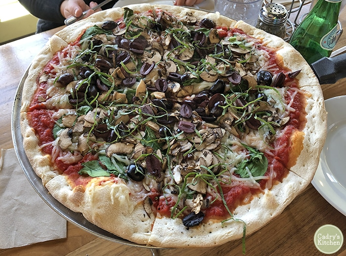 Vegan pizza at Gusto in Des Moines, Iowa.
