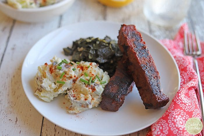 Seitan ribs from Herbivorous Butcher plus potato salad and collard greens.