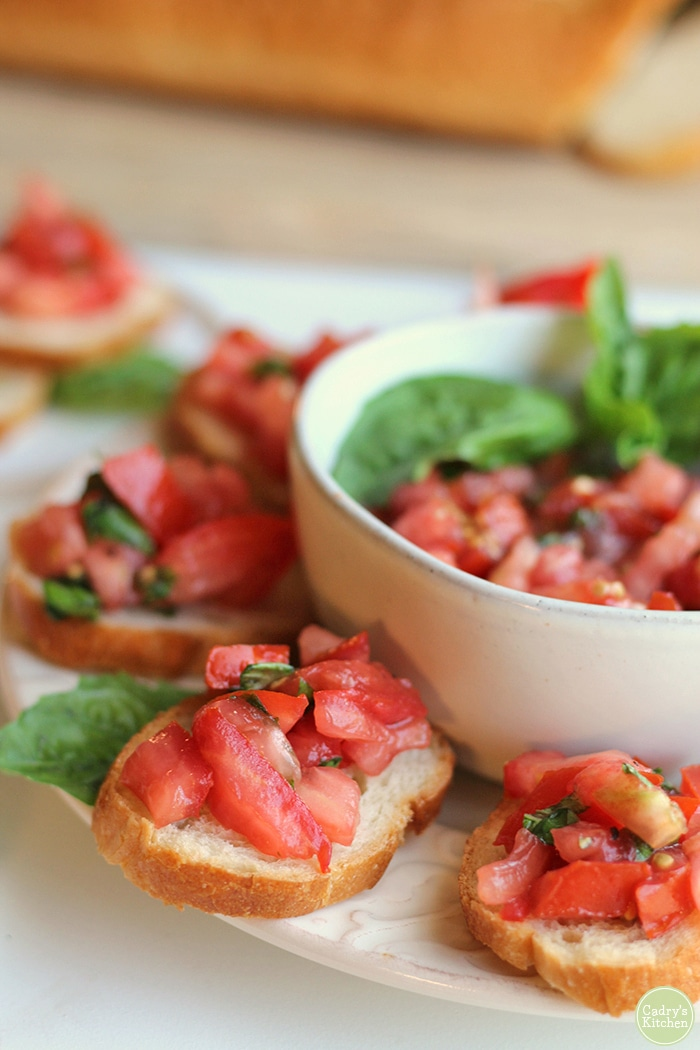 Bruschetta on crostini.