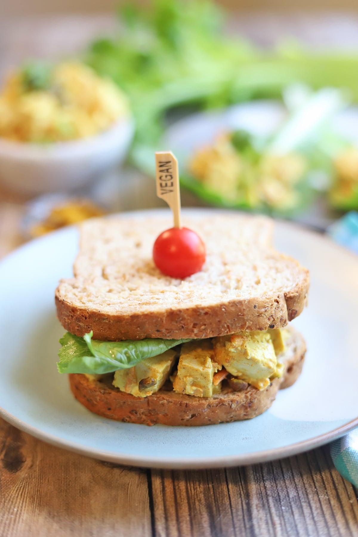 Sandwich on plate.