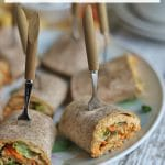 Text: Tortilla pinwheels with buffalo hummus. Tortilla rollups on plate with hummus filling.