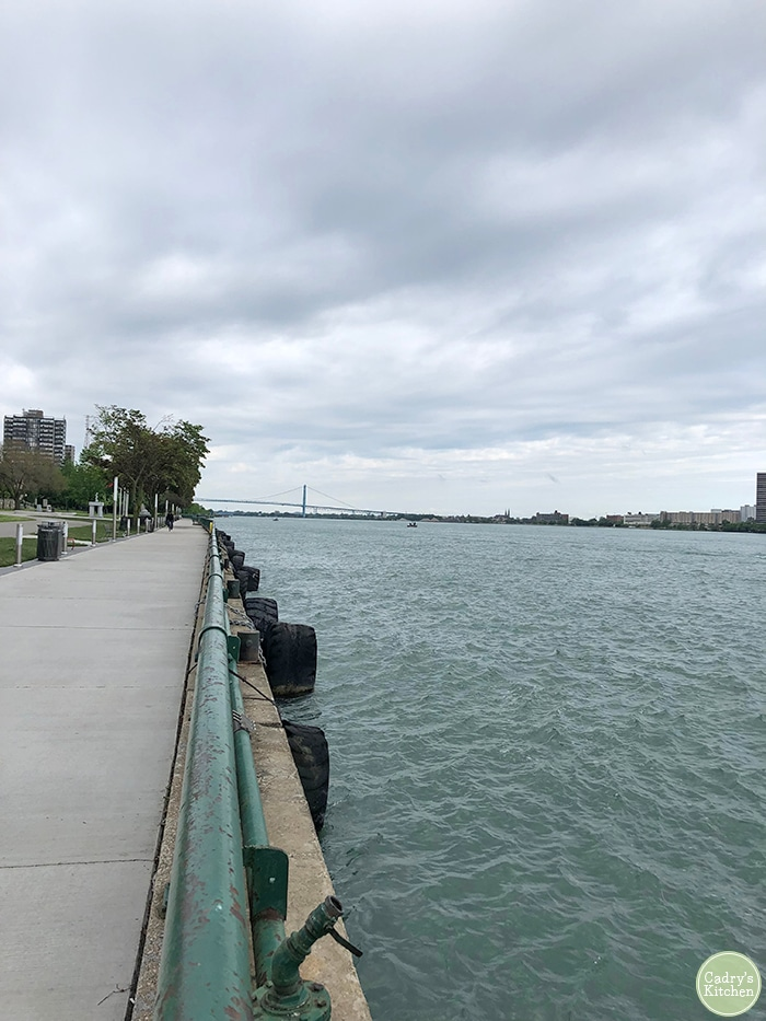 Ambassador Bridge and Detroit River in Windsor Ontario.