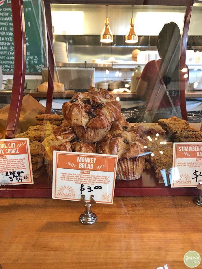 Monkey bread in display case at Avalon Bakery.