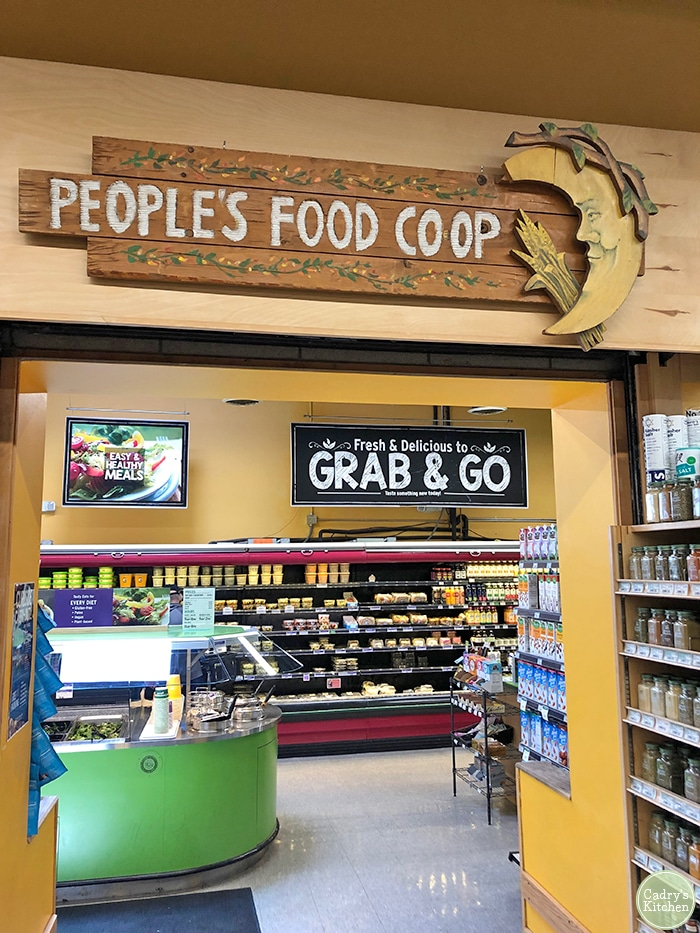 Sign at the People's Food Co-op in Ann Arbor, Michigan.