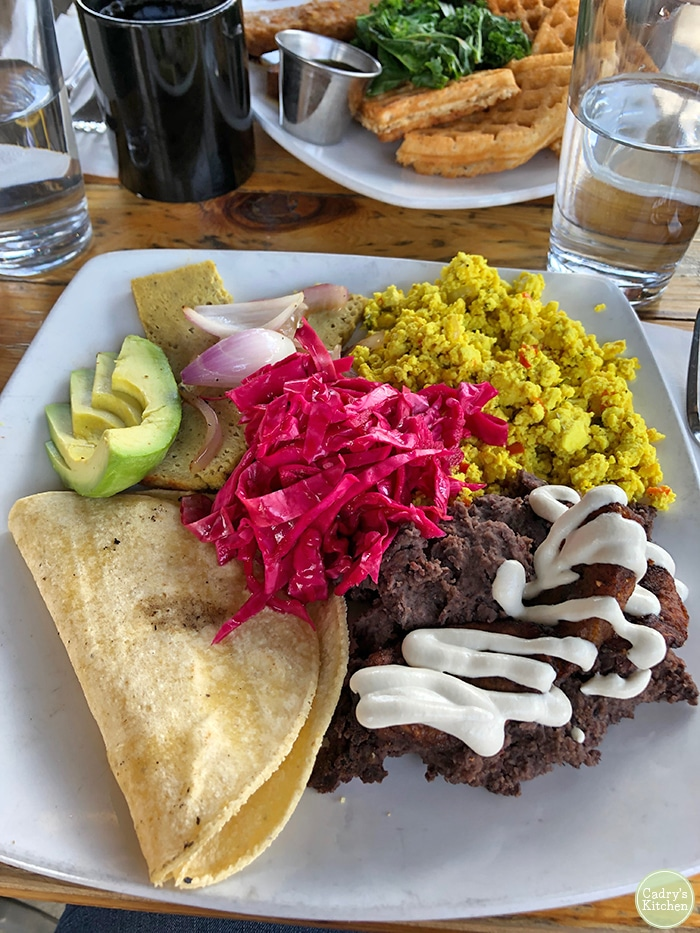 Platter with beans, tofu scramble, and tortillas at Detroit Street Filling Station.