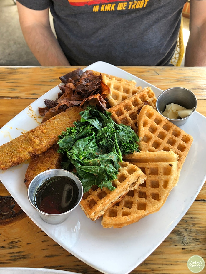 Chick'n & waffles at Detroit Street Filling Station.