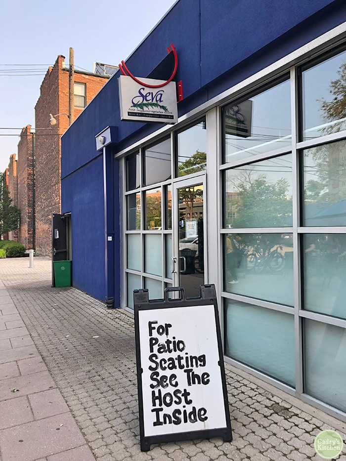 Exterior Seva Restaurant in Detroit, Michigan.