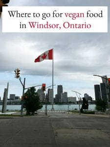 Text: Where to go for vegan food in Windsor, Ontario. Detroit River & Canadian flag.