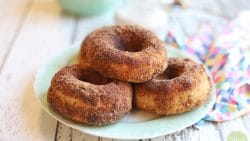 Plate with a pile of baked vegan donuts covered in cinnamon sugar coating.