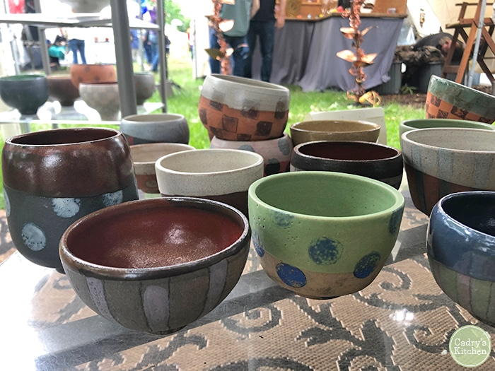Joan Gaspar Hart pottery on table at College Hill Arts Festival.