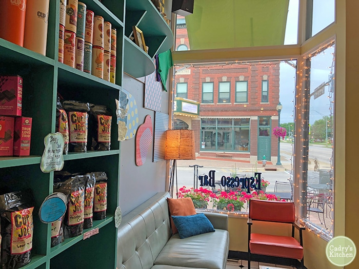 Window nook with seating at Cup of Joe Coffee.