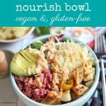 Text: Jackfruit reuben nourish bowl. Vegan & gluten-free. Bowl with jackfruit corned beef, sauerkraut, and avocado.
