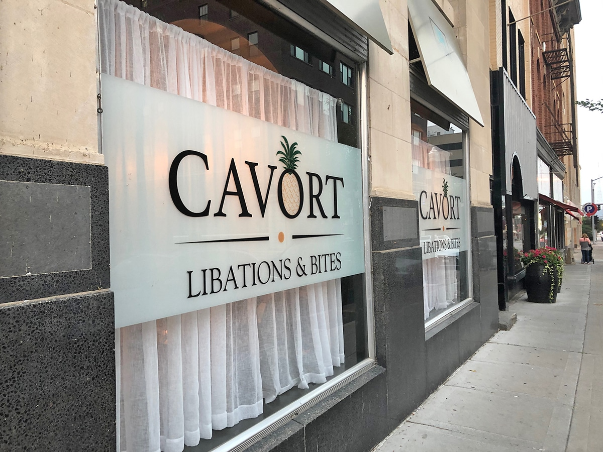 Exterior Cavort restaurant in downtown Davenport.