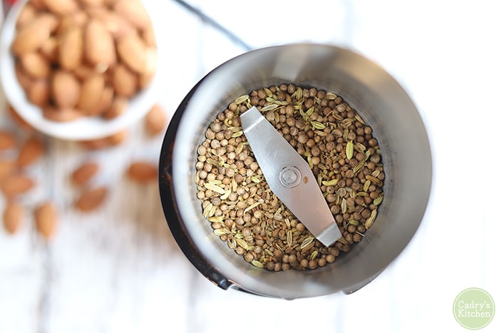Seeds in coffee grinder.