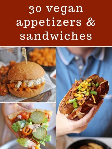 Text overlay: Get ready for Game Day! 30 Vegan appetizers & sandwiches. Collage with chili dog, chickpea sandwich, and pizza.