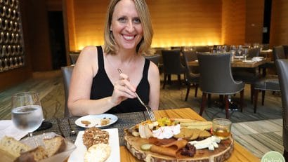 Cadry at Cosmos restaurant in Loews hotel with a vegan charcuterie board.