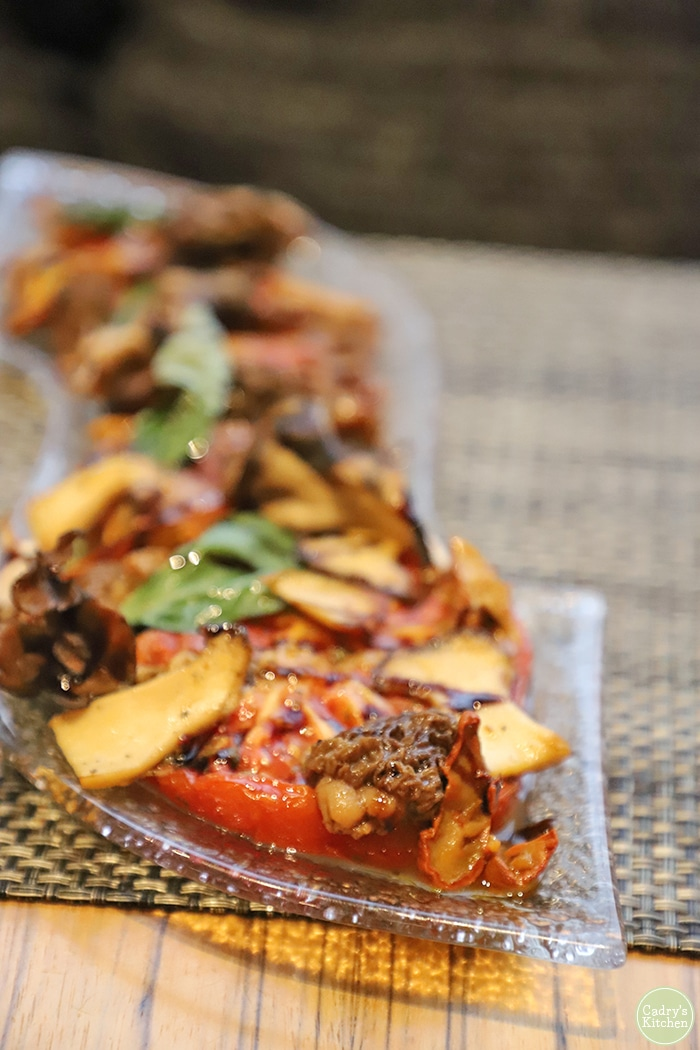 Caprese style salad with foraged mushrooms.