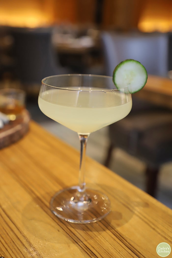 Cucumber cocktail at Cosmos in Loews Hotel for a Minneapolis date night.