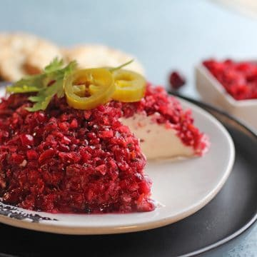 Cream cheese topped with cranberry salsa on plate.