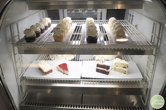 Dessert case at Vegan East.